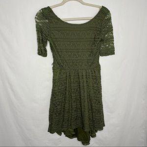 Xhilaration green lace short sleeve mini dress